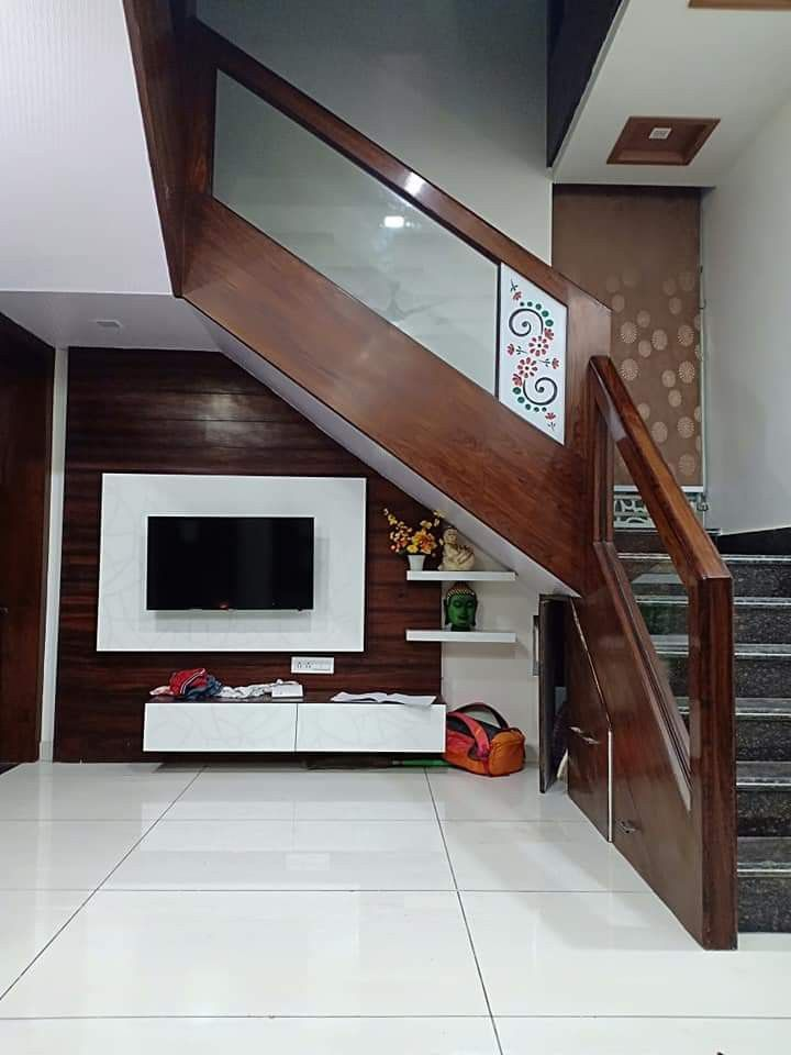 Stairs Down Lcd Unit More Desgin Open My Pinterest Profile And   Duplex House Staircase Wall Design   Tv Cabinet   Stair Wall Paint   Living Room Staircase   Decoration   Exterior Staircase