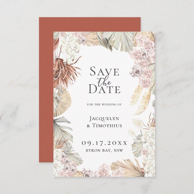 floral wedding stationery blush wedding Floral Save the date cards boho wedding invitations wedding announcement