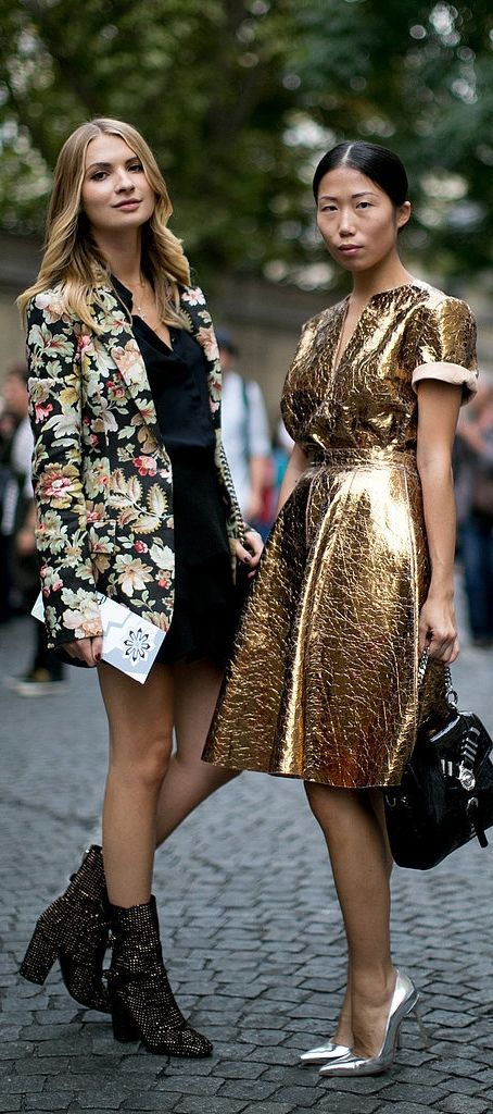 Don't be afraid to rock a bold head-to-toe metallic look this holiday