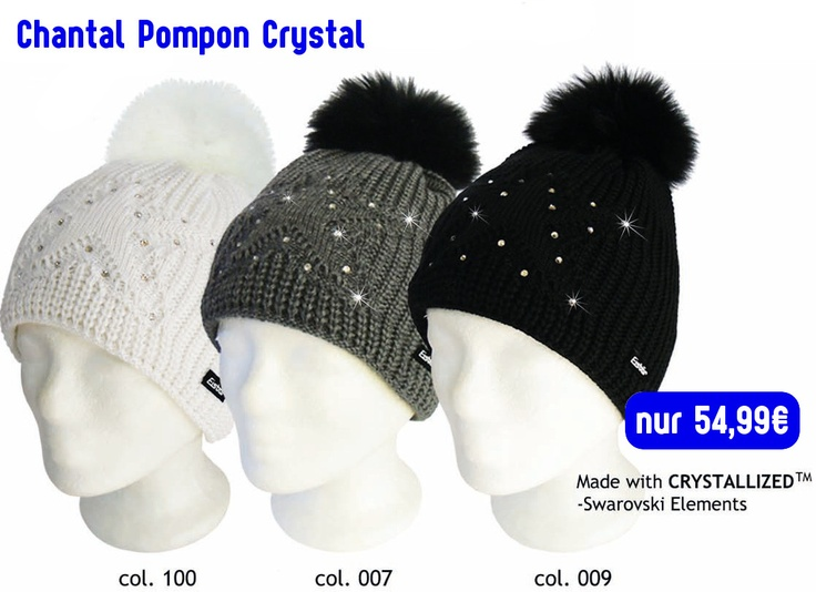 Original Swarovski & Eisbär Mütze Chantal Pompon Crystal