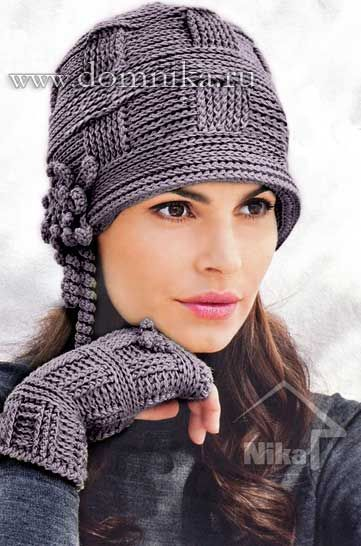 Стильная вязаная женская шапка крючком