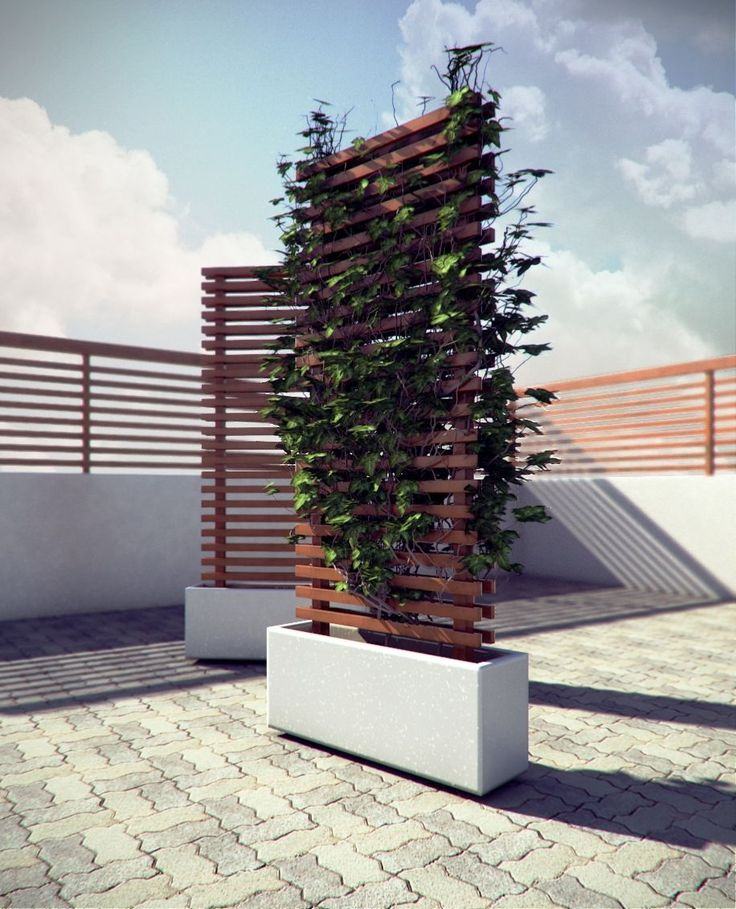 """Hey everyone. I'm reluctantly posting this image. I'd like to get crits, but have not secured the IP for the design and would like to eventually be involved in producing these on a large scale. I designed and built a few prototypes of these modular mobile vine walls last summer. The concept is essentially a mobile concrete planter with a 6' wooden trellis for assisting vertical growth. The unit is 36"""" wide by 11"""" deep by 6' tall. There are 4 360 degree castors inset in the base so they ar..."""