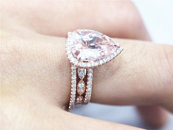 3 Ring Rose Gold Pear Morganite With 2 Matching Band Engagement Wedding Sets