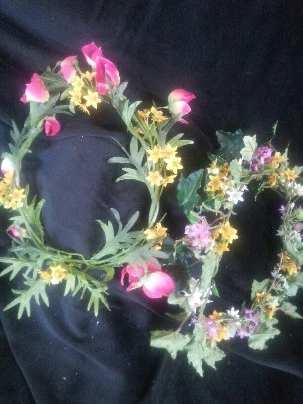 Floral fairy wreaths in gold and pink.  $12