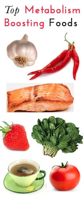 TOP METABOLISM BOOSTING FOODS: Garlic, Red Pepper, Salmon, Strawberries, Spinach, Green Tea, Tomatoes.
