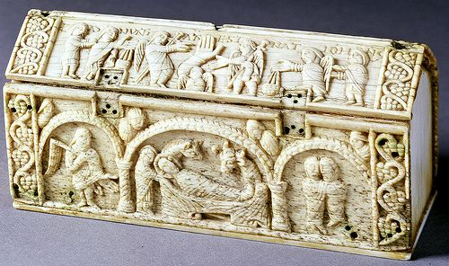 Ottonian Reliquary - Reverse with Nativity and (on the lid) Annunciation of the birth of John the Baptist