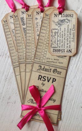 Party in Style Vintage Alice in Wonderland Tag Style Invitations & Tickets (Hot Pink x 6))
