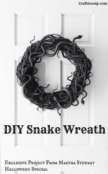 Martha Stewart Halloween Special DIY Snake Wreath posted on CraftGossip.com