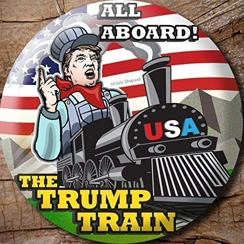 "6- PACK! ALL ABOARD! The TRUMP TRAIN! DONALD TRUMP 2016! CAMPAIGN BUTTON PIN Badge 2.25"" SIX BUTTONS! *** Click on the image for additional details."