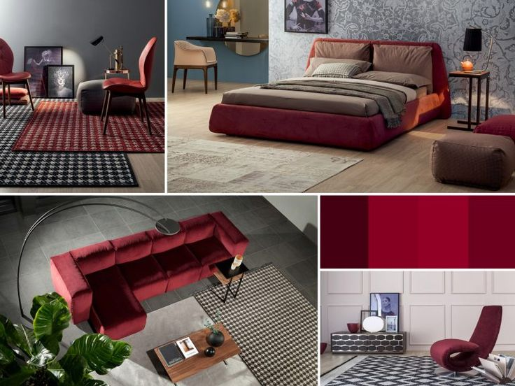 Modern interiors in in wine colors by Tonin Casa