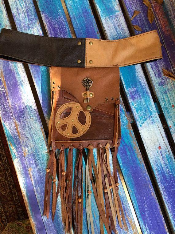 Hippie Gypsy Brown Patchwork Leather Hip by HippieGypsybyCherie