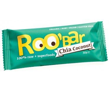 Baton cu Chia &Cocos Bio ( marca ROO`BAR ) reprezinta o gustare perfecta si in acelasi timp raw pentru fiecare. Toate ingrediente provin din agricultura certificata ecologic si sunt procesate « la rece ». Semintele de chia reprezinta in sine un supraaliment, iar cocos-ul asigura aroma atat de placuta. Sunt echilibrate caloric si pot fi consumate atat de persoane sanatoase, sportivi, cat si de mamici in devenire.