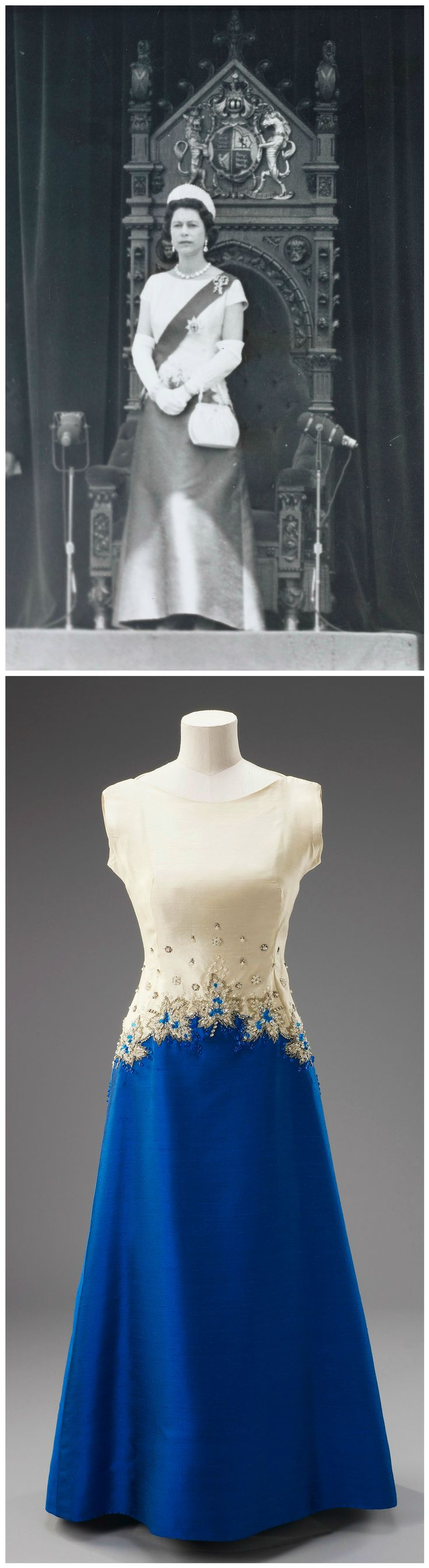 Evening gown, by Sir Norman Hartnell, 1967. Silk crêpe embroidered with crystal beads, silver bugle beads, sequins and diamanté. H.M. Queen Elizabeth II wore this dress for the service held on July 1, 1967, in Ottawa to commemorate the 100th anniversary of the Confederation of Canada (see accompanying Associated Press photo). Royal Collection Trust.