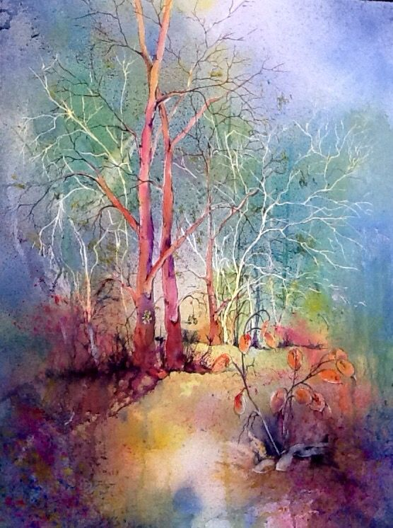 Forest, watercolour and pen by Jean Larcum