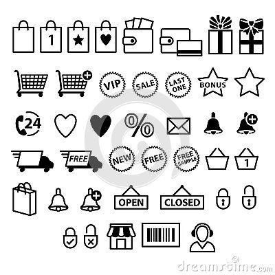 Set Pictogram Supermarket Services Shopping Icons Stock Photos, Images, & Pictures – (21 Images)