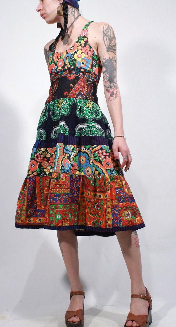 Psychedelic folk halter maxi African batik ethnic by ChopstixWaits, $138.00
