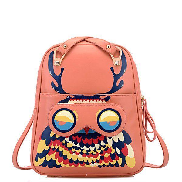 School Fashion Owl Cartoon Graffiti Backpack