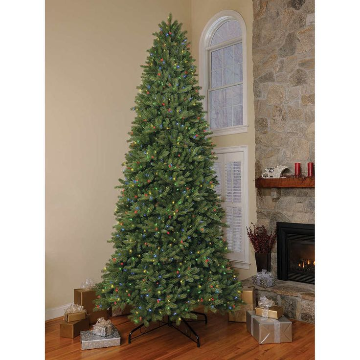 artificial 12 foot christmas tree pre lit spruce multi color led lights new - Prelit Christmas Tree