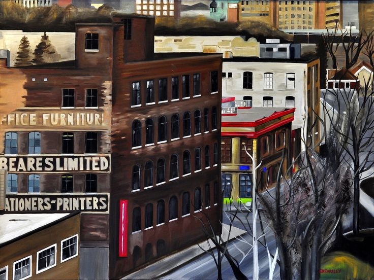 """Untitled in the City"" on foxsly.com by Emily Kearsley. Beautiful! Look at those colours! 40 x 30″ Oil on gallery canvas Framed in a black floating frame, ready to hang."