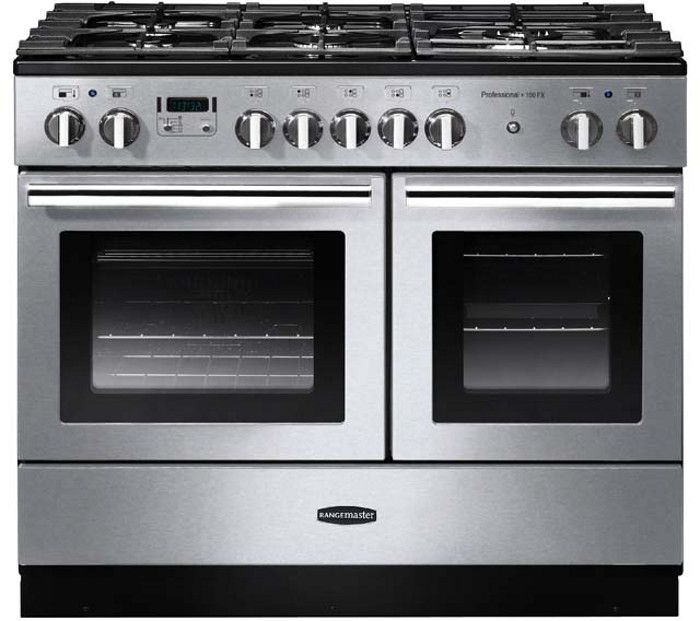 Rangemaster Professional Plus FX Stainless Steel with Chrome Trim 100cm Dual Fuel Range Cooker....maybe stainless steel?