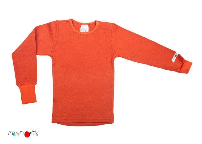 KoKoBello - barnkläder, leksaker & bärsjalar - Orange tröja i obehandlad ull med flexibel storlek från Manymonths - autumn sunset