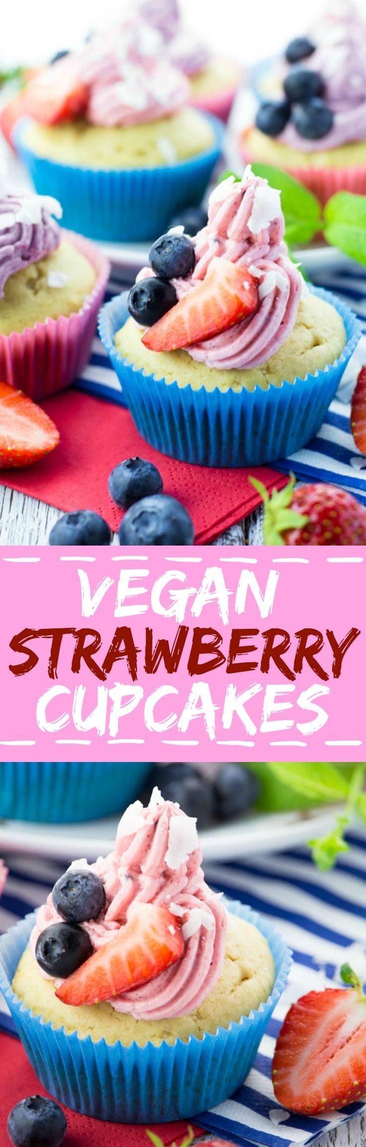 These vegan strawberry cupcakes with blueberries and coconut flakes are not only perfect for 4th of July but also for girls birthday parties!