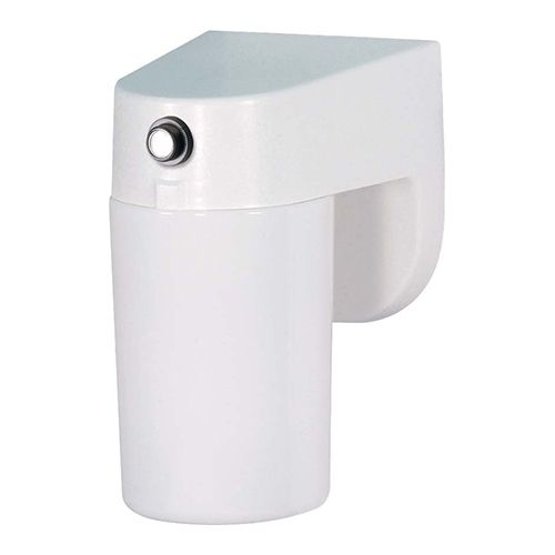 White One-Light Fluorescent Outdoor Porch Wall Sconce with Lexan Cylinder Shade and Photoelectric Sensor