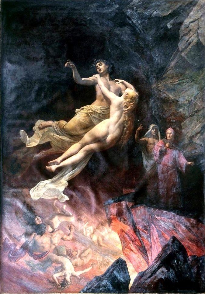 """Eugéne Deully, """"Dante et Virgile aux Enfers"""", originally exhibited as """"Françoise de Rimini (Paolo et Francesca aux Enfiers)"""", 1897."""
