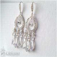 Classy chandelier earrings, sterling silver and cubic zirconia.