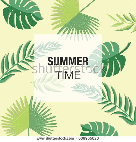 Summer vector design for wallpaper, greeting card or flyer with flower and palm leaves isolated on dark background using paper cut style design.