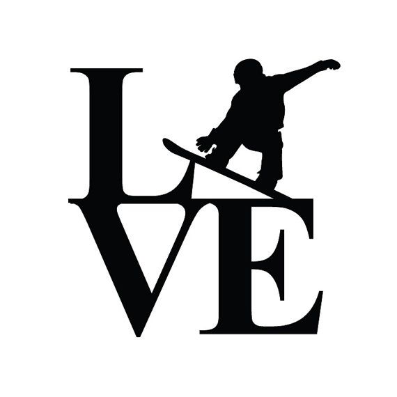 Snowboarding Stacked Love Decal by StickyImages on Etsy