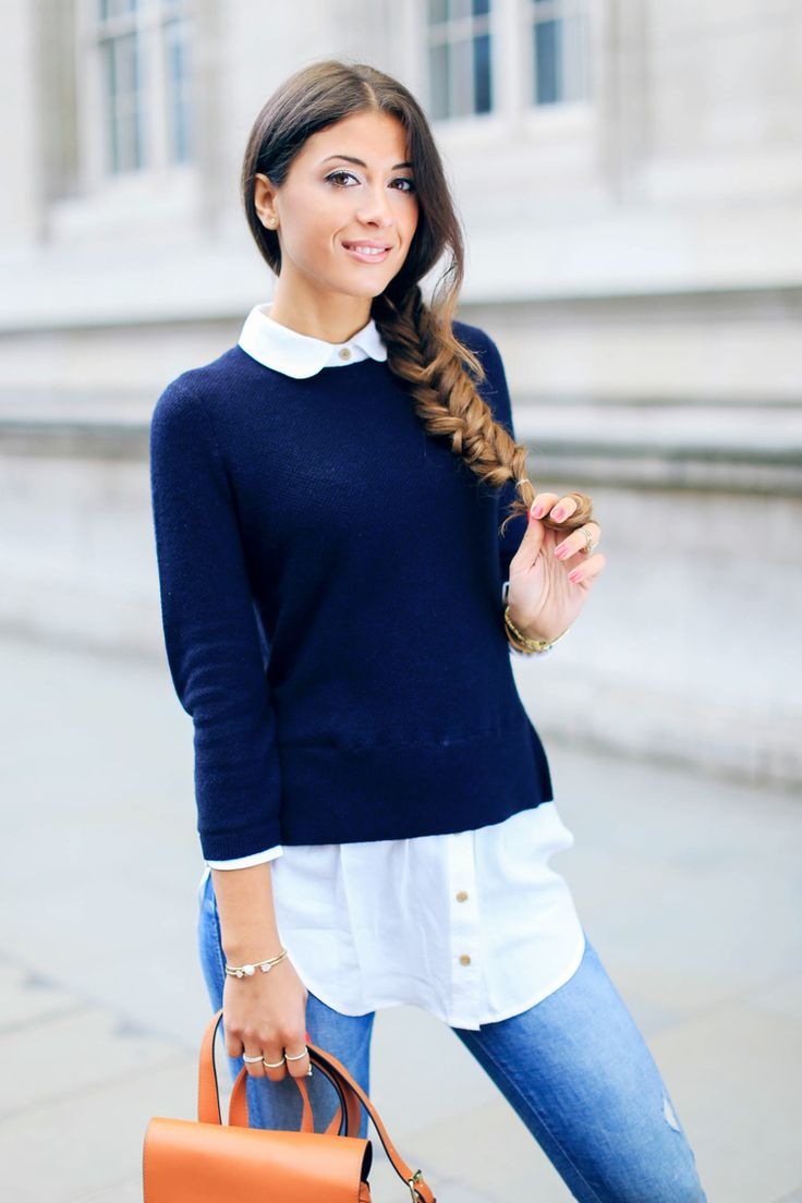 Blue sweater, white shirt, distressed skinny jeans