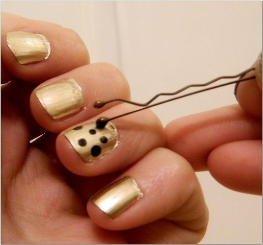 Use a bobby pin to make polka dots on your nails! HOW did i not think of that before?!--Works like a charm!