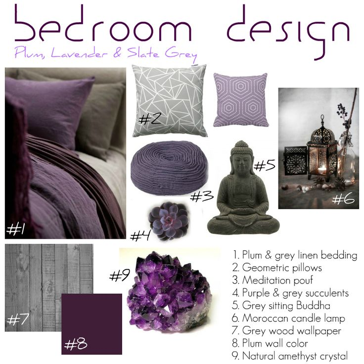 My vision board for the bedroom in the new house! Tying plum, lavendar, and slate grey colors with geometry, natural crystals, moroccan flair, and zen elements.