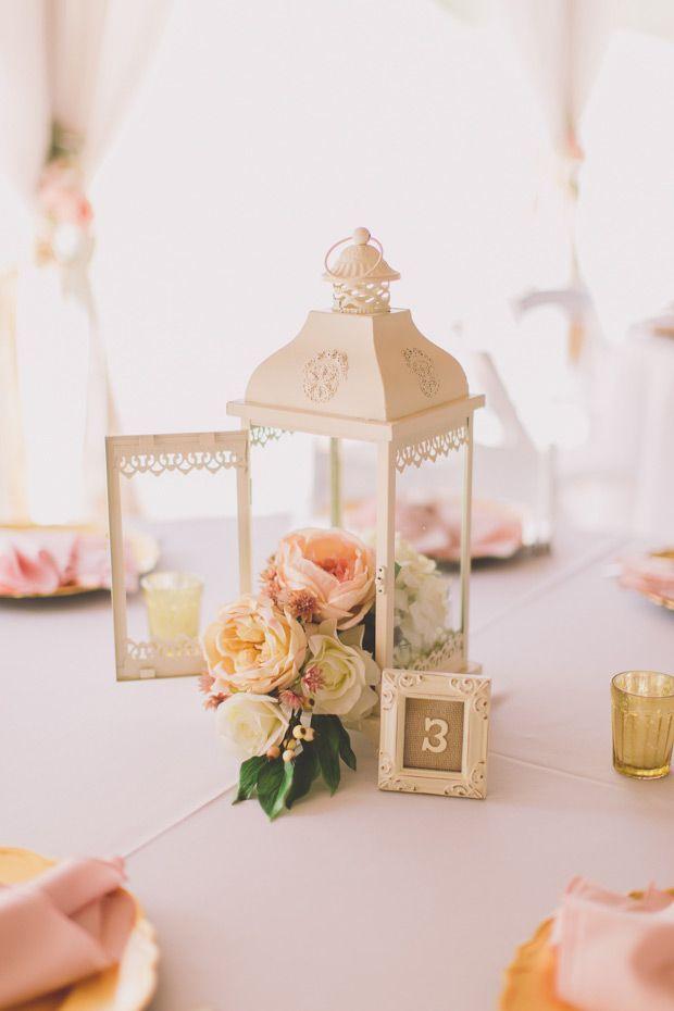 vintage blush pink lantern wedding centerpiece / http://www.deerpearlflowers.com/lantern-wedding-centerpiece-ideas/2/
