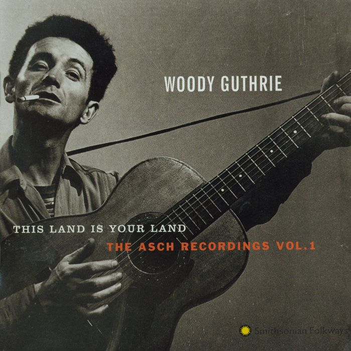 """11/30/12 """"This Land is Your Land: The Asch Recordings, Vol. 1"""" -  The first in a series of four, this recording presents many of Woody Guthrie's best known songs taken from the original masters. Included here is the original version of Woody's anthem """"This Land Is Your Land,"""" which contains never-before issued lyrics. A major force in the urban folk song revival, Guthrie created an intimate portrait of America—its land and people."""