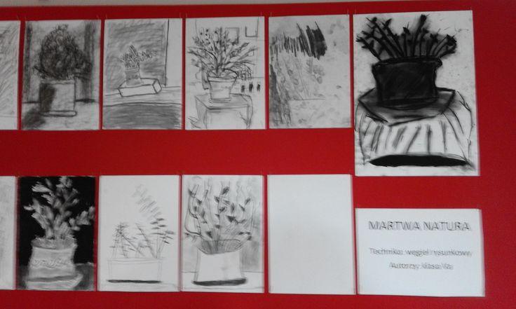 Wystawa. Martwa natura. Węgiel rysunkowy