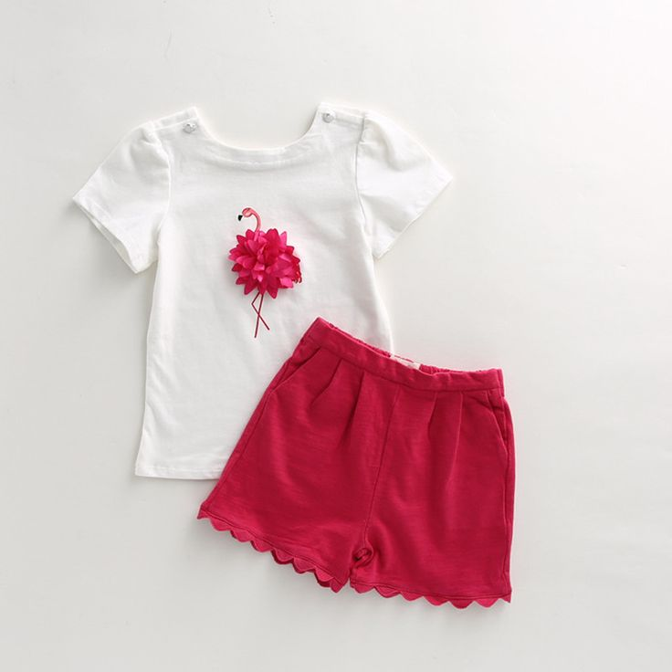 2017 sistemas de la ropa de verano de los bebés de flamencos rosados niño rosa set infantil ropa niños conjuntos trajes del bebé del envío libre en Sistemas de la ropa de La madre y Los Niños en AliExpress.com | Alibaba Group