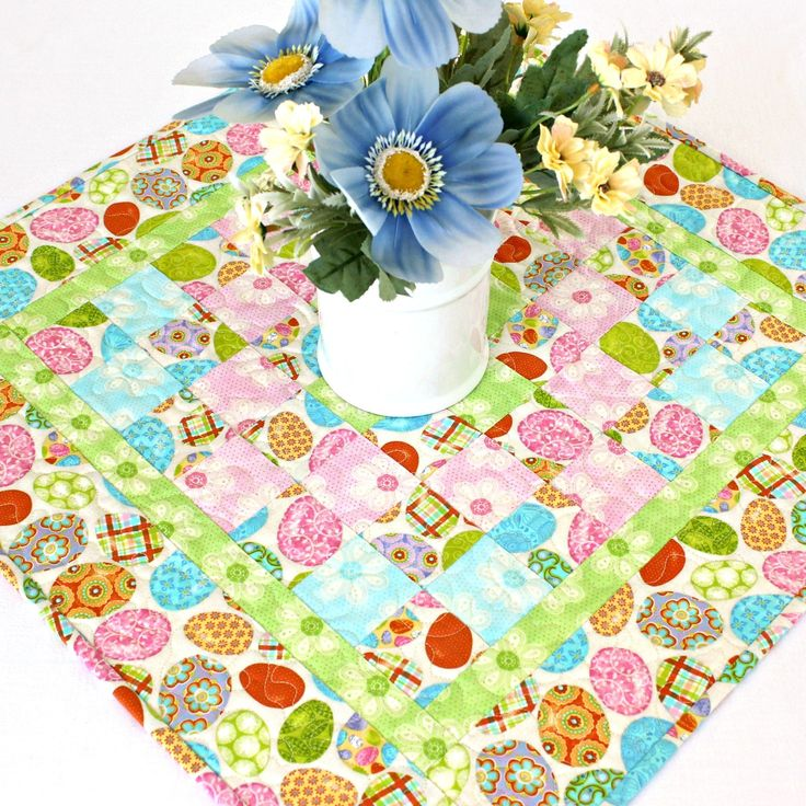 Quilted Easter Table Topper Easter Eggs Etsy in 2020