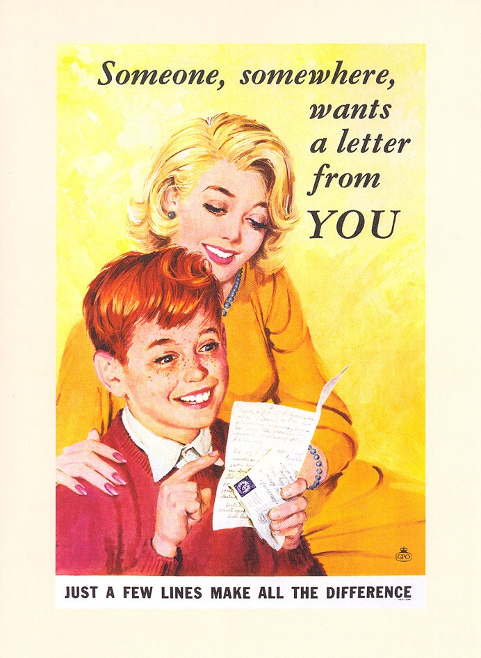 "£2.50 - Greetings card - A poster from the series of General Post Office posters promoting the sending of letters in the early 1960s. Remember, ""just a few lines make all the difference""! This card features a Mother with her son opening up a letter - available from http://www.postalheritage.org.uk/page/greetings-someonemother"