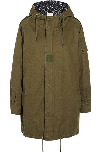 Saint Laurent - Hooded Cotton And Ramie-blend Gabardine Parka - Army green - FR42