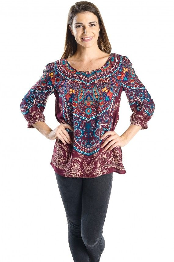 Open Back Paisley Print Blouse, 3/4 Sleeve Border Print Shift Top