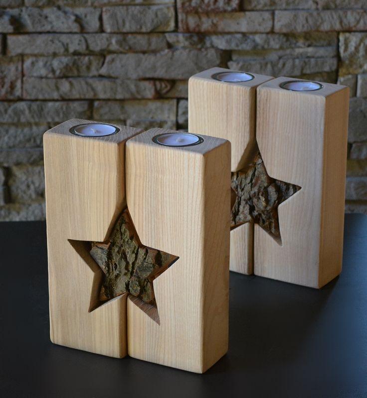 Teelichthalter mit Stern, Holzdeko