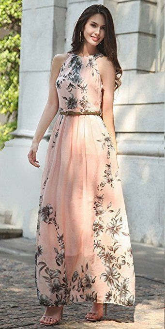 6f521bae81c Women s Sleeveless Halter Neck Vintage Floral Print Maxi Dress ...