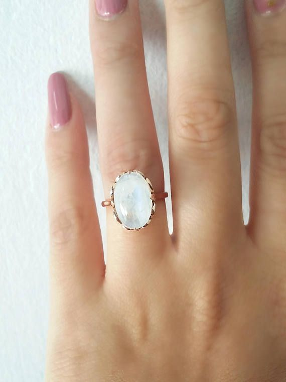 Moonstone ring Unique engagement ring 18K Solid Rose Gold
