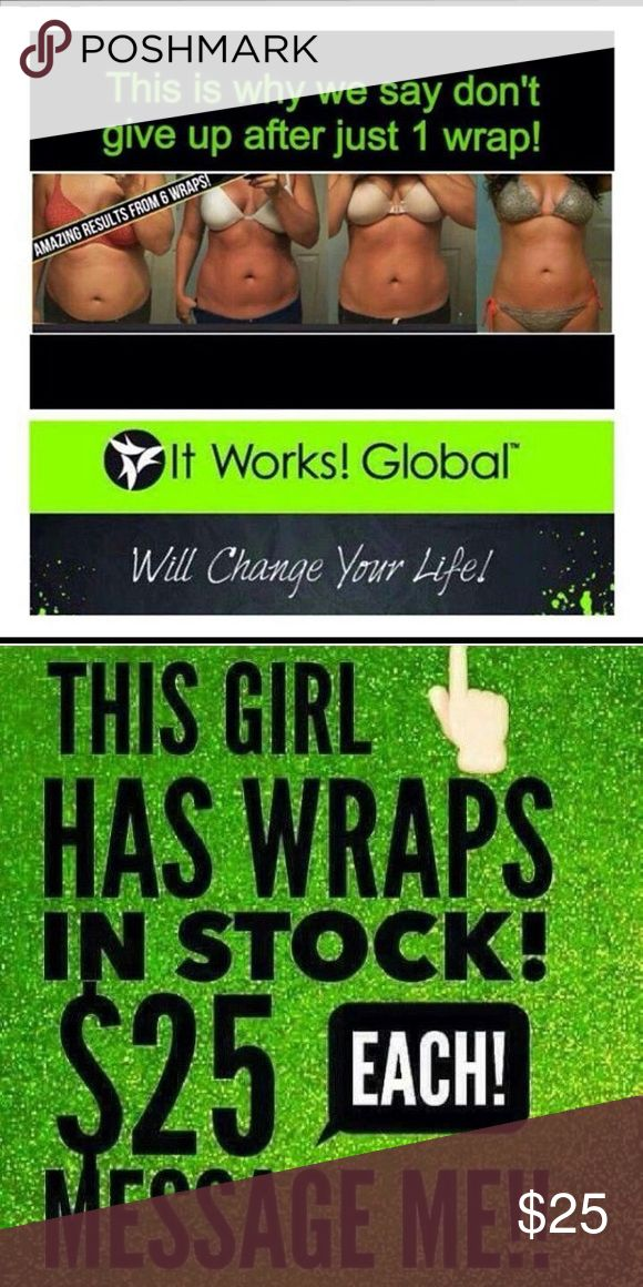 SKINNY wraps!!! Have you heard of the all natural, plant based SKINNY wrap?! Tighten, tone & firm in as little as 45 mins! Wrap anything from the chin down. Get yours while I have them in stock- summer is coming!!! ItWorks Other
