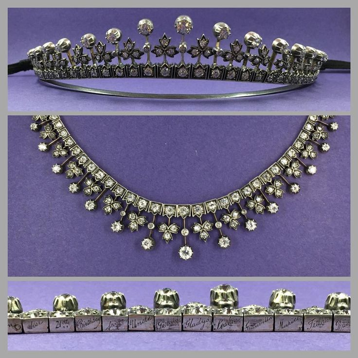 A stunning Victorian diamond tiara necklace, beautifully formed with diamond set graduating strawberry leaf clusters and knife edge set diamonds. 15ct yellow gold & silver. With original case and fittings. The tiara has a beautiful encryption engraved along the base 'To Grace on her 21st Birthday from Uncle Gerald, Gladys, Leslie, Granville, Muriel , Tich, Brownie and.... 9 Aug 1903'