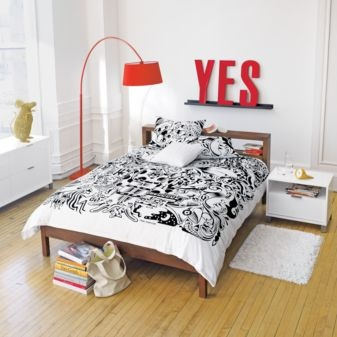 I can't decide if this man's room is saying yes to sleep or yes you can sleep over...