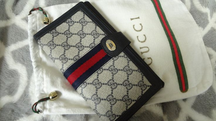 Authentic Vintage GUCCI Accessory col large trifold clutch continental wallet Dustbag GOOD clean Iconic bag by DoorstepFashions on Etsy