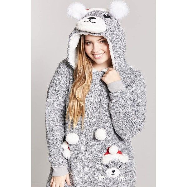 Forever21 Plus Size Plush Santa Bear PJ Onesie (86 RON) ❤ liked on Polyvore featuring intimates, sleepwear, forever 21, long sleeve sleepwear and forever 21 sleepwear